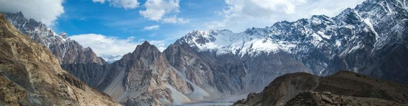 Rocky snow capped mountain range in the Hunza Valley