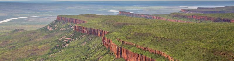 View of the iconic cliffs and high plateau of the Cockburn Range, El Questro Station, Kimberley, Australia.