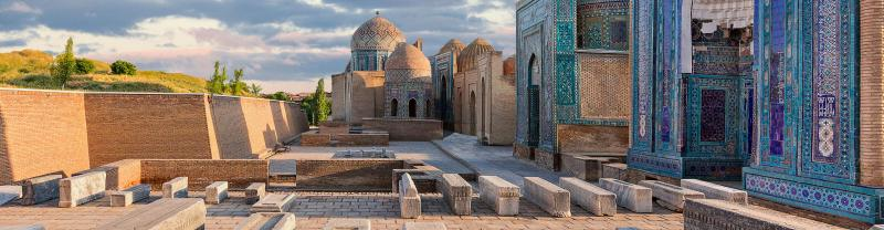 Historical necropolis of Shakhi Zinda at sunset, Samarkand, Uzbekistan.
