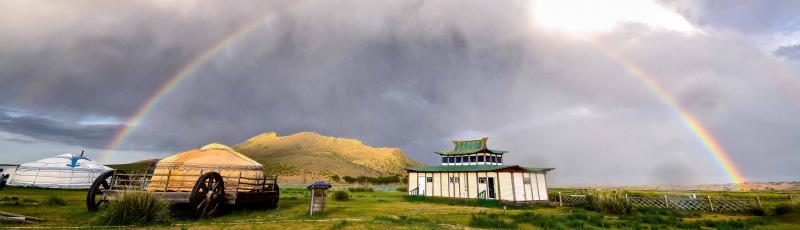 Rainbow over Gobi, Mongolia