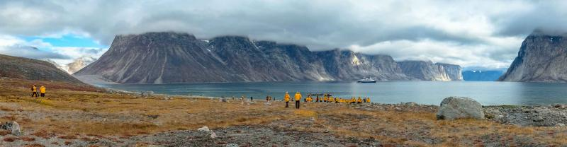 Passengers onshore in an inlet in the Candaina High Arctic