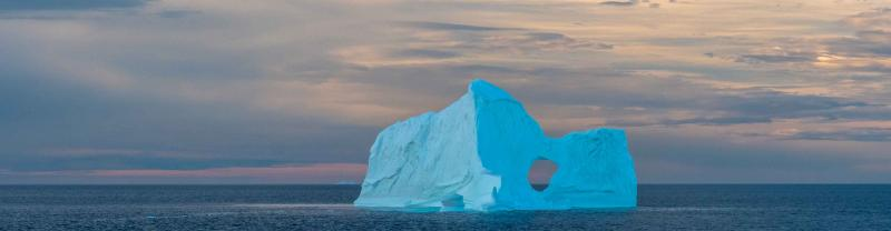 Bright blue iceberg in the Northwest Passage, Canadian High Arctic