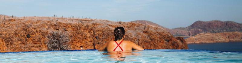 Passenger enjoys a swim in outback Western Australia