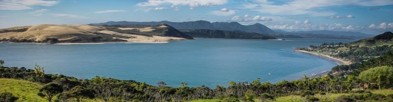 View of the Opononi sand dunes from lookout, North Island, NZ