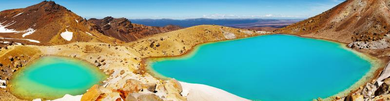 Colourful Emerald Lakes in Tongariro National Park, NZ