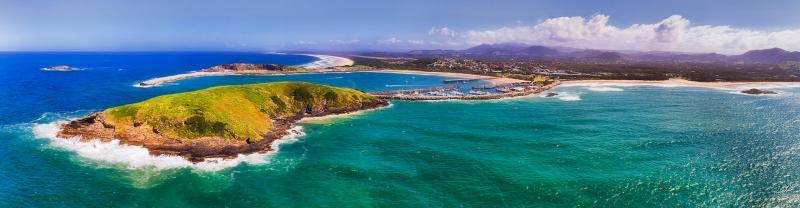 Aerial view of the coast of Coffs Harbour, NSW, Australia