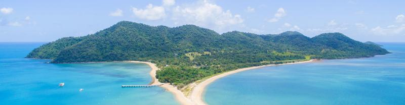 Aerial view of Dunk Island off the coast of Queensland