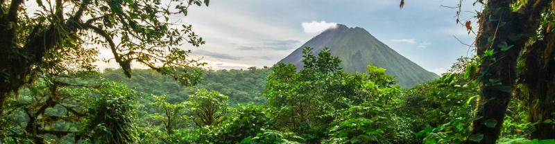Jungle view of Arenal volcano in costa rica