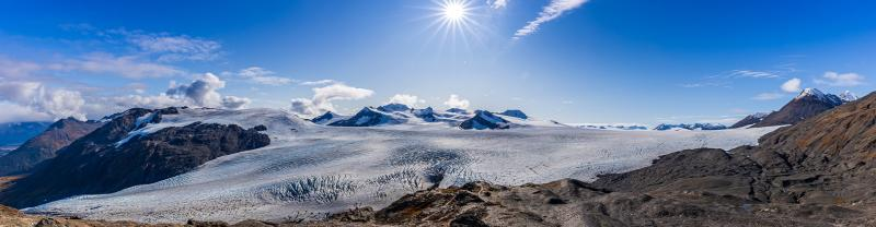 Panoramic view of Exit Glacier and Harding Ice field in Kenai Fjords NP
