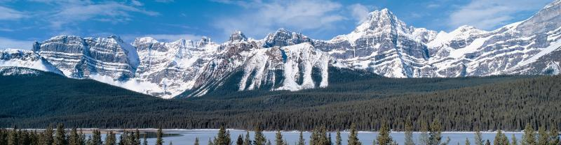 Panoramic of the scenic Rocky Mountains, located in British Columbia