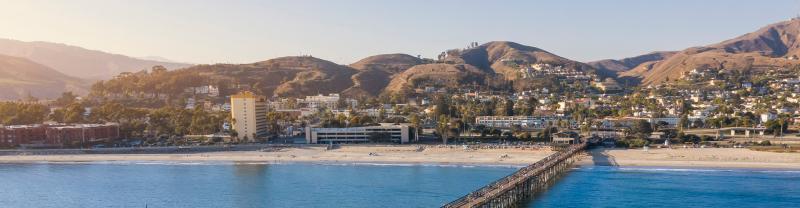 SSKI - Aerial view of the Ventura Beach coast at sunset