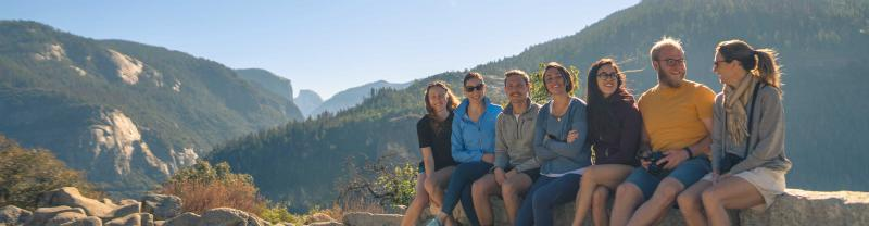 Group of travellers take in view at Yosemite national park