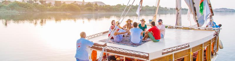 XEPN - Group cruising down the Nile river on a Felucca