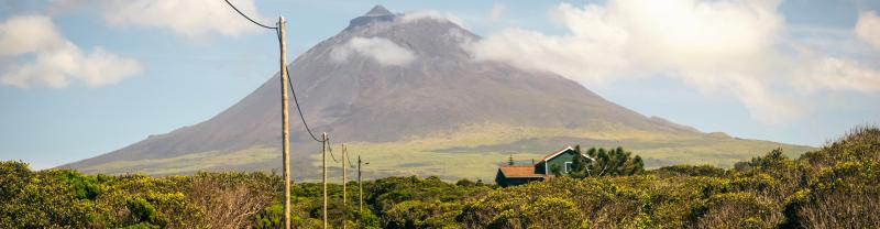 View of the Pico Island volcano and wine country, Azores, Portugal