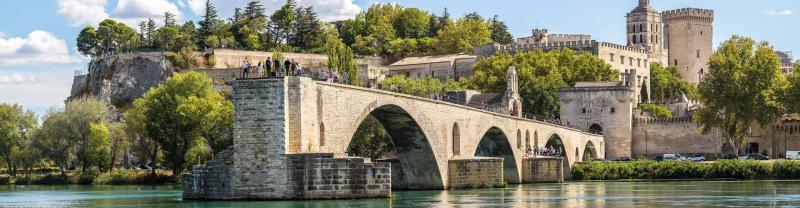 Saint benezet bridge meets canal in Avignon France