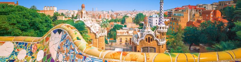 Colourful mosaic and buildings of Guell Park, Barcelona, Spain