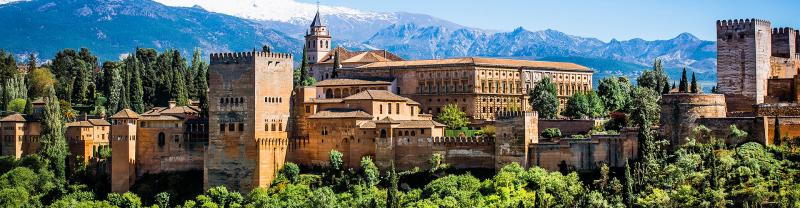 Landscape view of Alhambra Palace, Granada, Spain