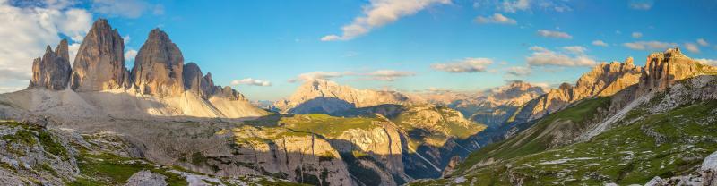 Panorama of the Tre Come di Lavaredo peaks