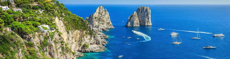 Stunning views from Capri on the Amalfi coast, Italy
