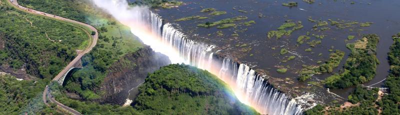 Zimbabwe - Victoria Falls aerial view rainbow