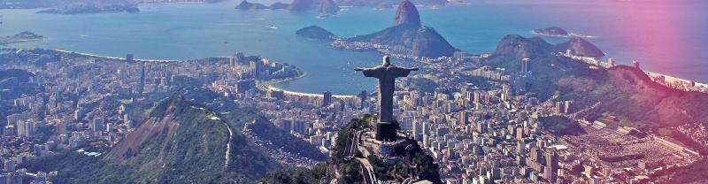 Rio brazil christ redeemer aerial view