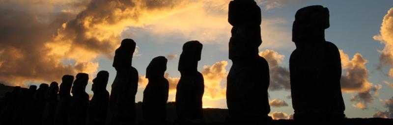 easter island statue silhouettes
