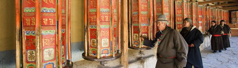 Prayer wheel in Xiahe Monastery, China