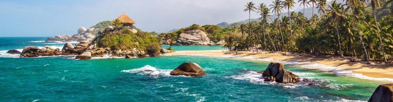 colombia tayrona national park beach sea palms hut