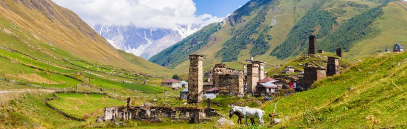 Ushguli settlement in Georgia