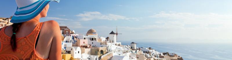 Greece Santorini view woman back