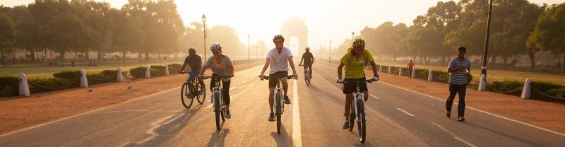 india rajasthan cycling sunrise
