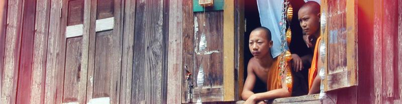 Laos monks window