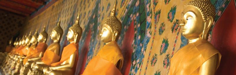 Gold buddha statues, Bangkok