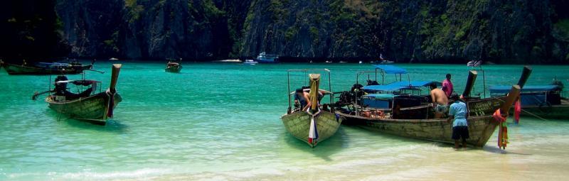thailand boat beach longboat ocean tourist fishing phuket