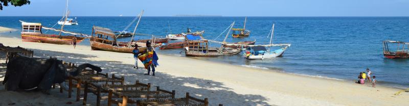 Fishing boats moored on the beaches of Zanzibar