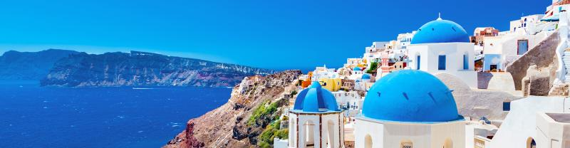 Blue sky and blue water of Santorini in Greece