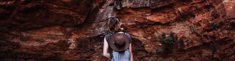 Traveller looks at rock formations in the Kimberleys