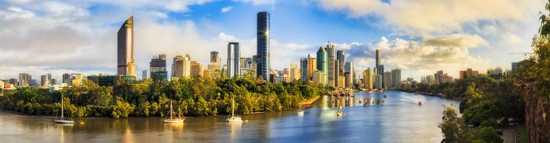 sunny view of Brisbane City over the Brisbane river