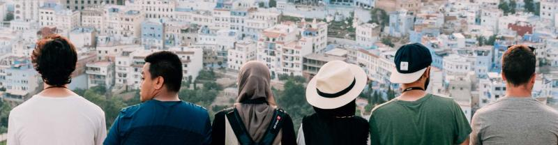 Group of travellers look over Chefchaouen