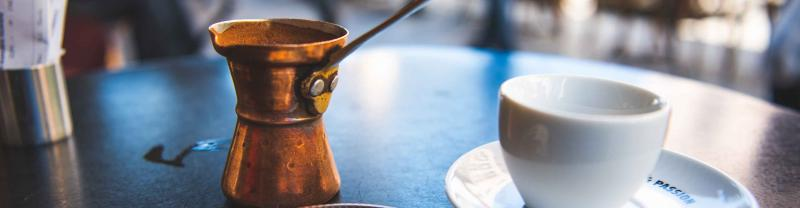 Preparing coffee the traditional way in Greece