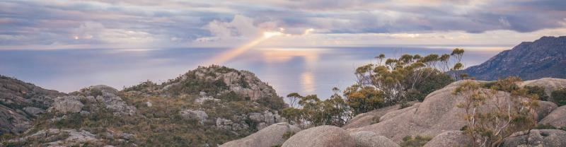 Sunset over Freycinet Mountain