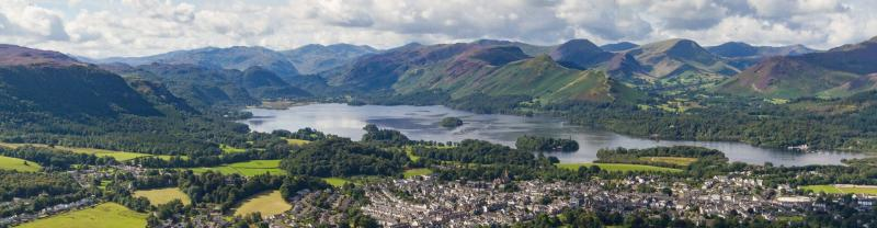 A panoramic view of Keswick in the Lake District