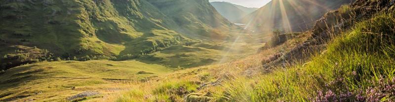 Sunrise in a valley in Glencoe