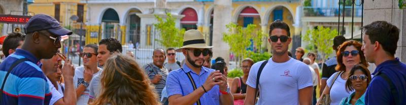A tour group in Havana, Cuba