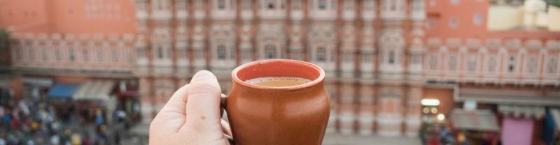 A cup of chai outside Hawa Mahal, Jaipur, India
