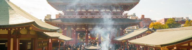 A smokey temple in Tokyo, Japan