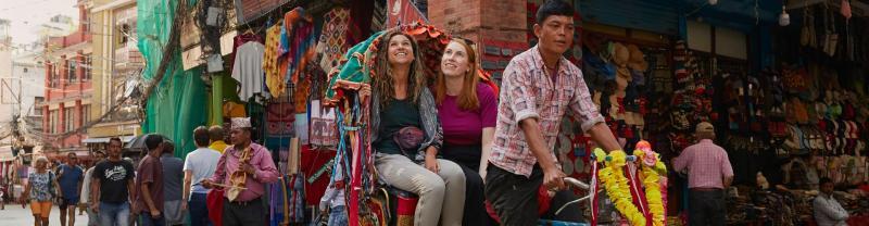 A rickshaw ride in Kathmandu, Nepal