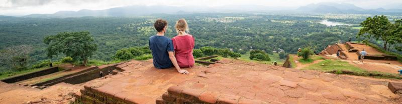 Two travellers overlooking Sigiriya, Sri Lanka