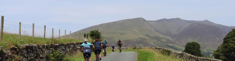 Cyclists on the Thirlmere trail in the Lake District