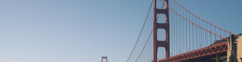 The red Golden Gate Bridge in San Francisco